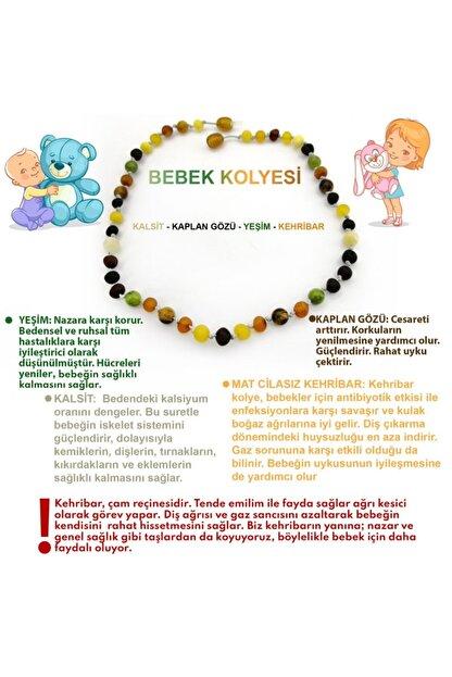 OSMANLI DOĞAL TAŞ Bebek Kehribar Kolye- Kalsit, Kaplan Gözü, Yeşim
