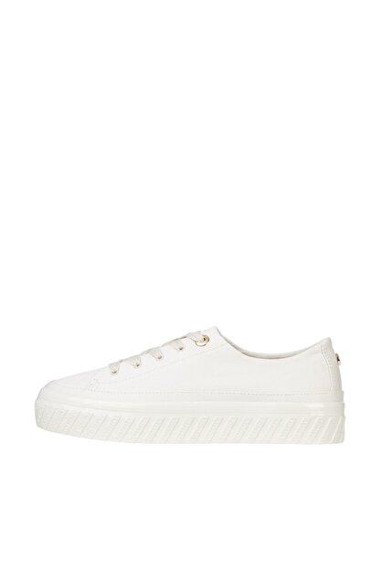 Tommy Hilfiger Kadın Bej Sneaker Shiny Flatform Vulc Sneaker FW0FW05536