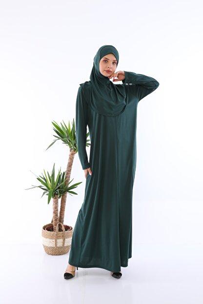 medipek Zümrüt Yeşili Fermuarlı Tek Parça Namaz Elbisesi