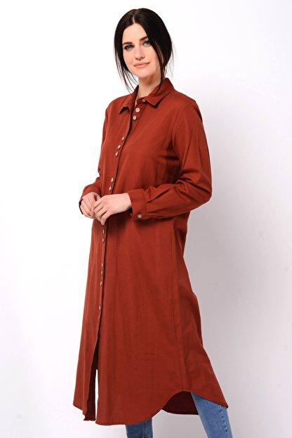 Nefise Kadın Kiremit Asimetrik Gömlek Elbise