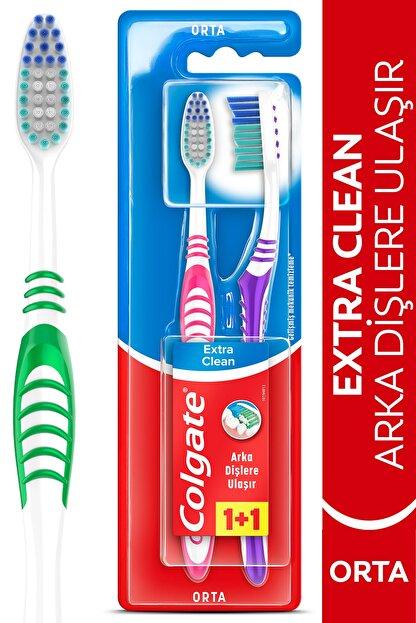 Colgate Extra Clean Dil Temizleyicili Arka Dişlere Uzanan Orta Diş Fırçası 1+1