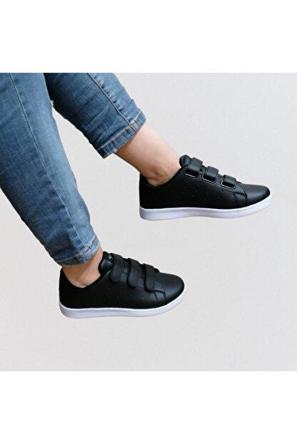 bi dünya ayakkabım Unisex Siyah Cırtlı Günlük Spor Ayakkabı