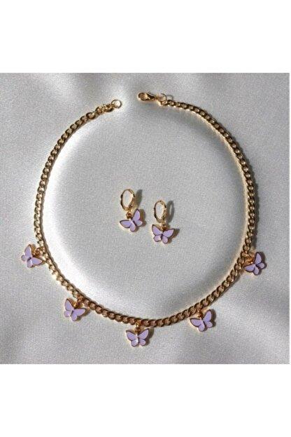 Reorah Collection Lila 5'li Kelebek Kolye-küpe Seti