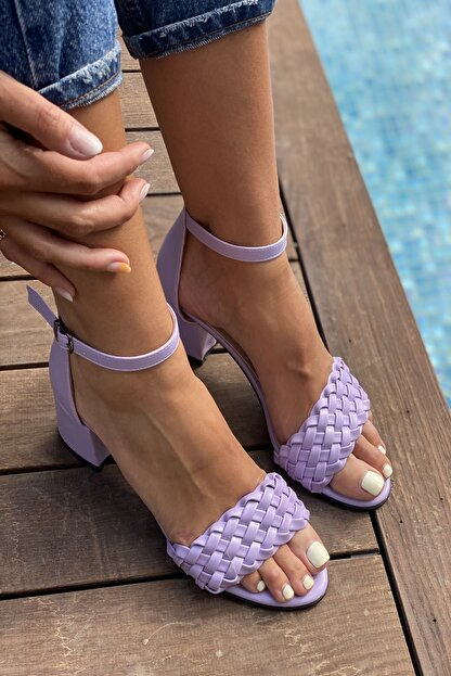 İnan Ayakkabı Kadın Lila Tek Bant Ince Örgü Bilekli Topuklu Ayakkabı