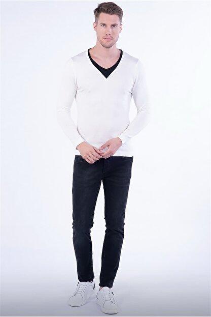 Efor TR 791 Slim Fit Beyaz V Yaka Triko