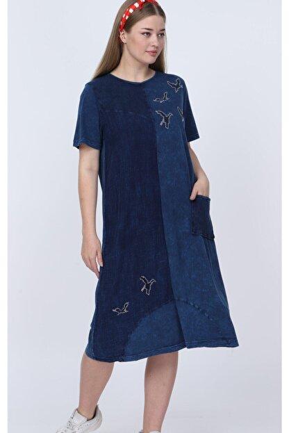 ZEYNEBİN DOLABI Kadın Mavi Yıkamalı Viskon Elbise