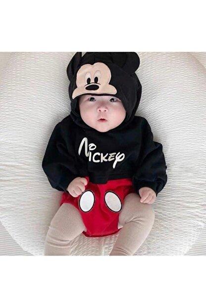 Murat Baby Siyah Erkek Bebek Kapşonlu Uzun Kol Badi Tulum