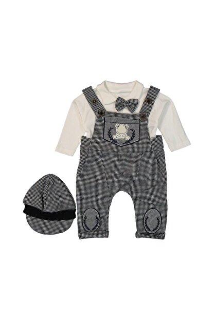 Murat Baby Papyonlu Şapkalı Pötikareli Gri Salopet Takım
