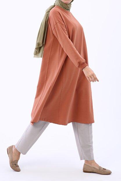 Ekrumoda Kadın Soft Tarçın Basic Kloş Tunik