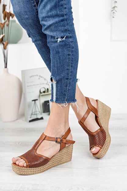 Deripabuc Hakiki Deri Taba Kadın Dolgu Topuklu Deri Sandalet Dp55-2626