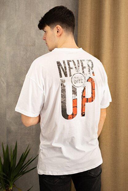 wamoss Erkek Beyaz Oversize Never Give Up T-shirt