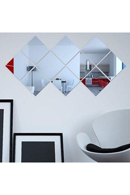 GİZEM SHOP Dekoratif Kare Pleksi Ayna Gümüş