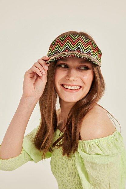 Y-London Missoni Desenli Yeşil Hasır Vizör Şapka 14073