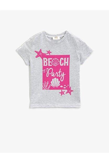 Koton Kız Çocuk Gri Baskılı Kısa Kollu Bisiklet Yaka Pamuklu T-Shirt