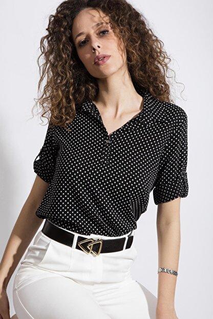 Pattaya Kadın Puantiyeli Uzun Kollu Gömlek Y20s110-3810