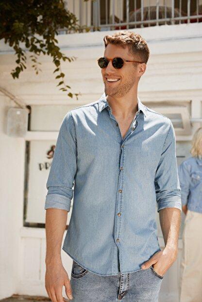 TRENDYOL MAN Mavi Erkek İnce Basic Denim Gömlek TMNSS20GO0107
