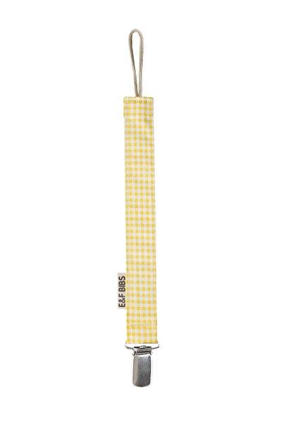 e&f Store Sarı Pötikare Emzik Askısı - Sertifikalı Kumaş Pamuk Bağcıklı Emzik Zinciri
