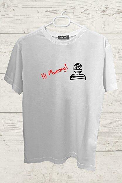 darko Unisex Beyaz Hi Mummy Tasarımlı Tişört