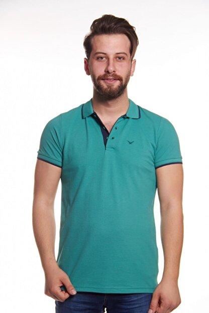 Cazador Erkek Yeşil Polo Yaka Çizgili T-shirt