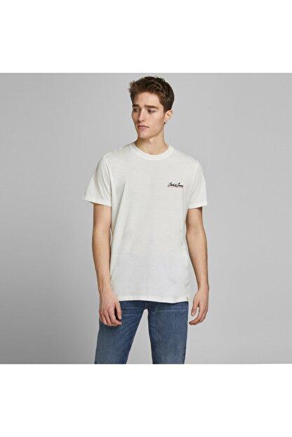 Jack & Jones Erkek Beyaz Logolu Tişört