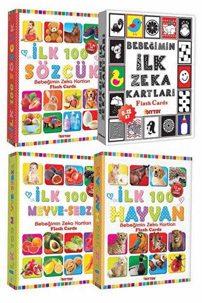 Diytoy Eğitim Seti 100 Sözcük + Ilk 100 Hayvan + Ilk 100 Sebze Meyve + Bebeğimin Ilk Zeka Kartları