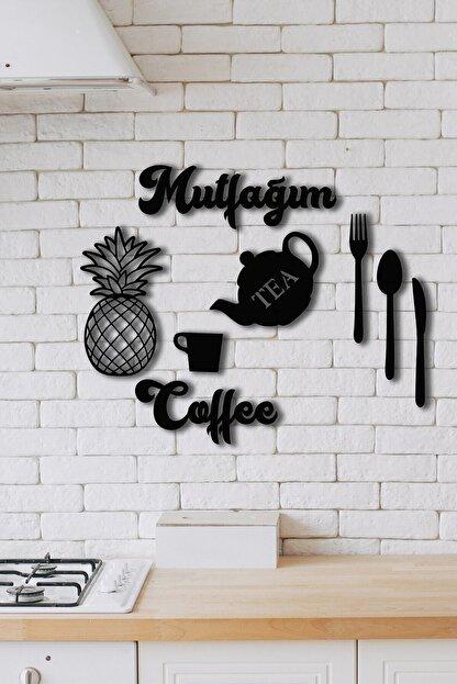 NT Handmade Siyah Mutfağım Ananas  Mutfak Konsepti Ahşap Duvar Dekoru 9 Parça
