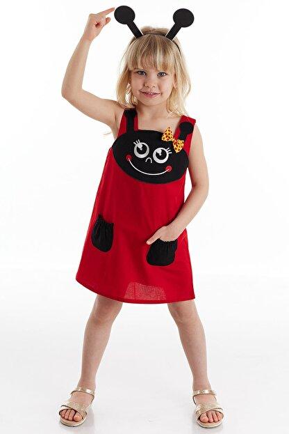 Denokids Kız Çocuk Kırmızı Uğur Böceği Kız Elbise