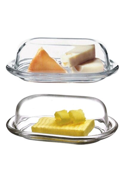 Paşabahçe 2'li Cam Basic Kapaklı Tereyağlık Peynir Tereyağ Kahvaltılık Saklama & Sunum Kabı