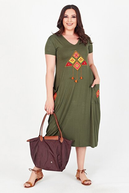 Womenice Kadın Haki Önü Üçgen Püsküllü Büyük Beden Elbise