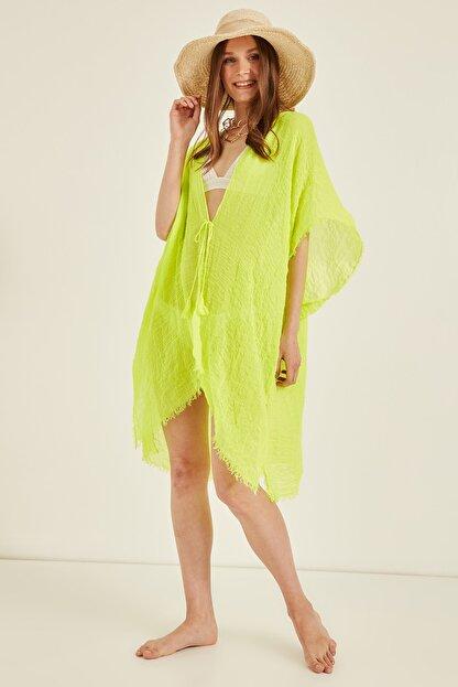 Y-London Kadın Neon Yeşil Pareo 13479-2