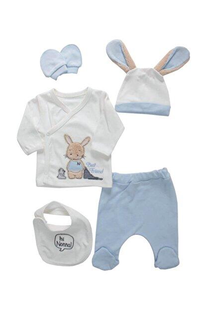 Nonna Baby Pofuduk Kulaklı Tavşanlı Erkek Bebek 5 Li Hastane Çıkışı