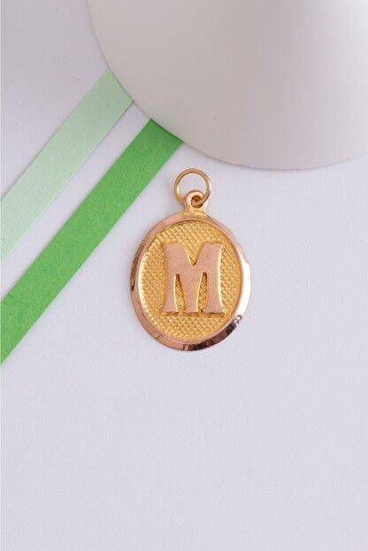 Bayar Gold 14 Ayar Altın M Harfli Vintage Oval Kolye Ucu