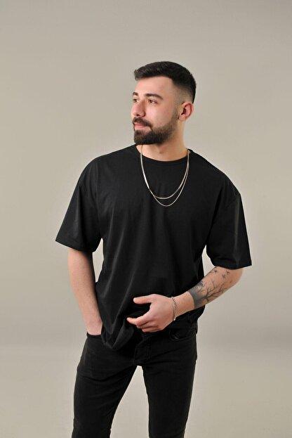 SKYBEAR Erkek Siyah Oval Kesim Oversize T-shirt