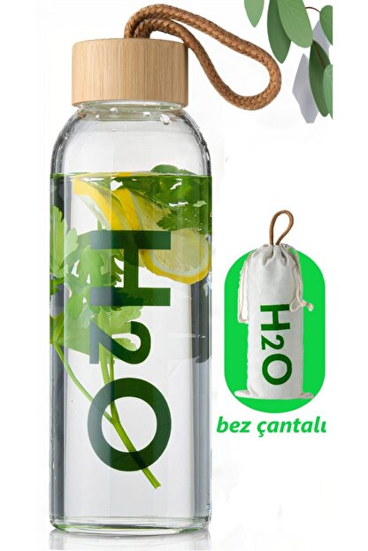 Tohana H2o Borosilikat Cam Matara Bambu Vakum Kapaklı Su Şişesi Suluk