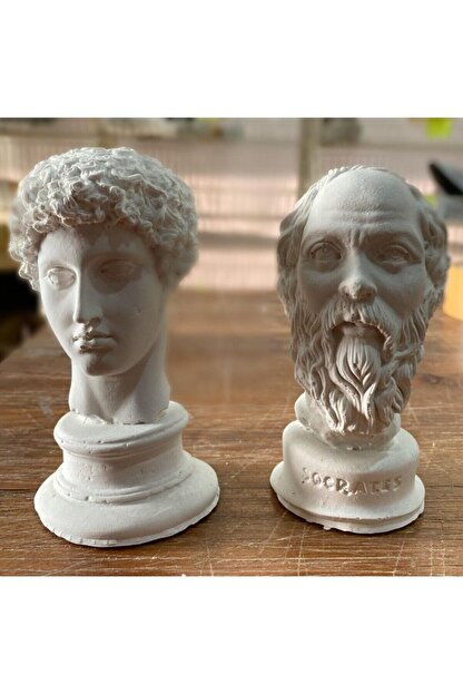 Elver Atolye Beyaz Hermes ve  Socrates Heykel Büst 2'li