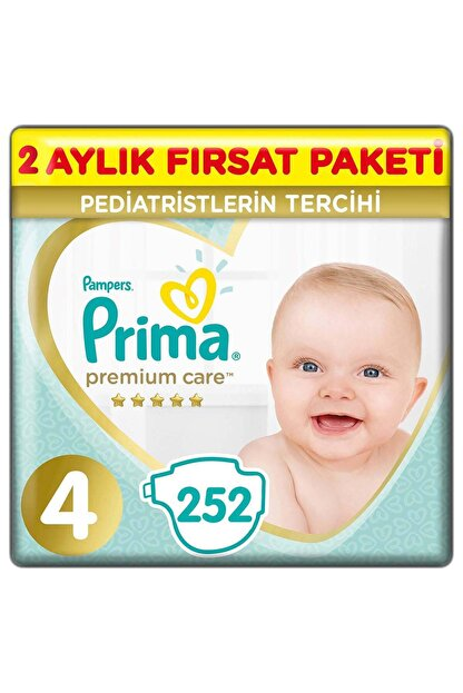 Prima Premium Care Bebek Bezi 4 Beden 252 Adet Maxi 2 Aylık Fırsat Paketi
