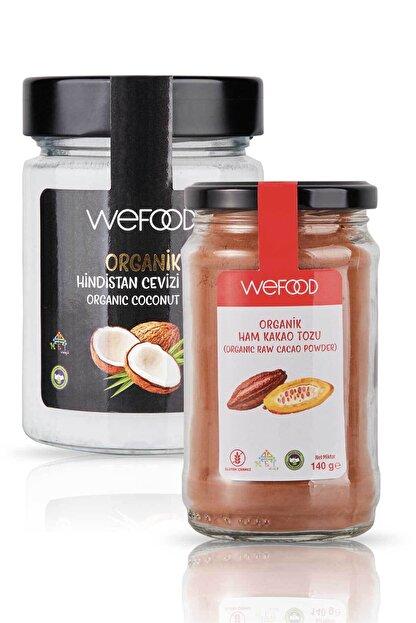 Wefood Organik Hindistan Cevizi Yağı 300 ml + Organik Ham Kakao Tozu 140 gr