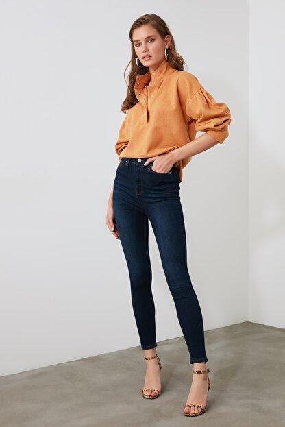 TRENDYOLMİLLA Mavi Yüksek Bel Skinny Jeans TWOAW21JE0388