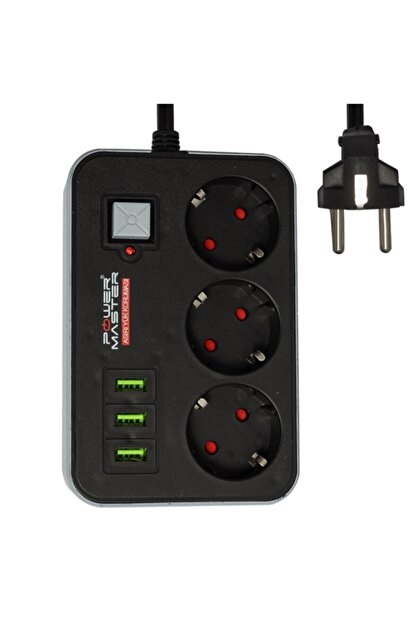 Çeşitli Powermaster Pm-17564 3 Usb Çıkışlı 3lü 1.8 Metre Kablolu Akım Korumalı Priz 10a-2500 Watt