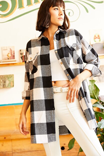 Olalook Kadın Siyah Çift Cepli Yanı Yırtmaçlı Oversize Oduncu Gömlek GML-19000719