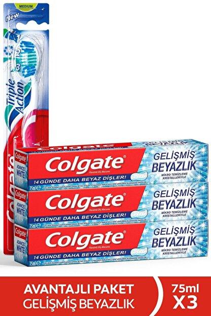 Colgate Gelişmiş Beyazlık Beyazlatıcı Diş Macunu 3 X 75 Ml + Üçlü Etki Diş Fırçası