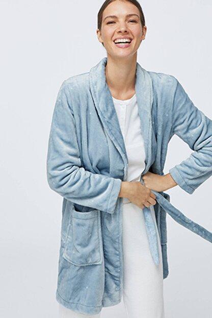 Oysho Kadın Mavi Puantiye Desenli Yumuşak Mavi Sabahlık