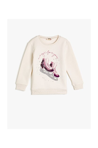 Koton Ekru Kız Çocuk Sweatshirt