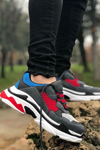 NOVELYA Kırmızı Kalın Taban Erkek Sneaker Ayakkabı