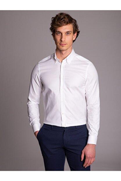 Dufy Beyaz Pamuklu Oxford Klasik Erkek Gömlek - Slım Fıt