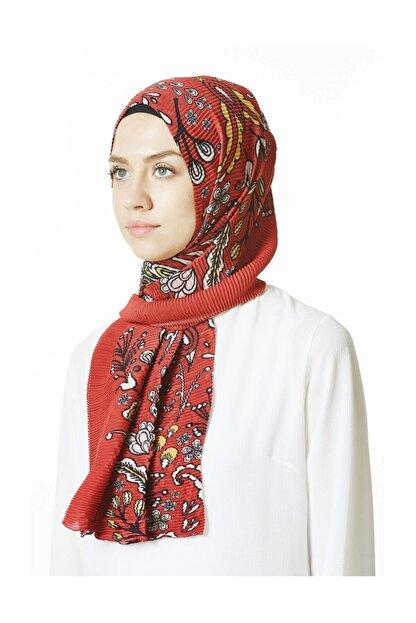 Cachmira Kadın Renkli Desenli Pliseli Şal