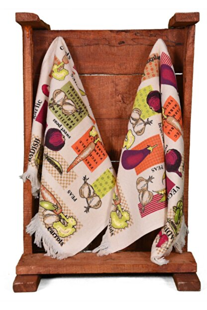 Nur iş havlu Beyaz Kadife Saçaklı Sebzeler Baskılı Mutfak Havlusu 2'li 40x60