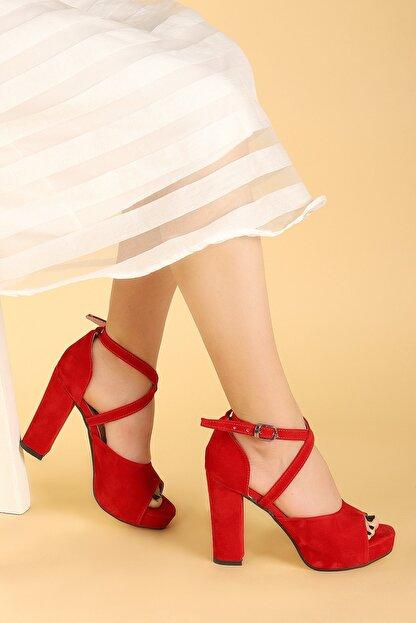 Ayakland Kadın Kırmızı Süet Abiye 11 cm Platform Topuk Sandalet Ayakkabı 3210-2058
