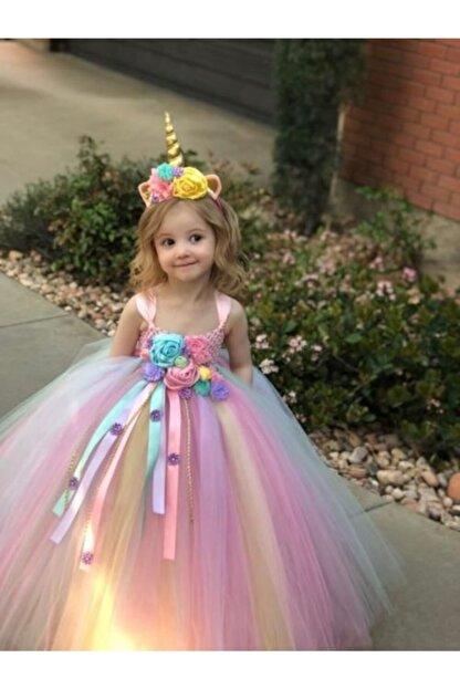 Kokoş Kız Çocuk Pembe Unicorn Tütü Elbise  Unicorn Taç Özel Tasarım Doğum Günü Saç Aksesuarı