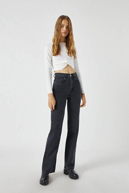Pull & Bear Kadın Siyah Yüksek Bel Straight Fit Jean 09683327
